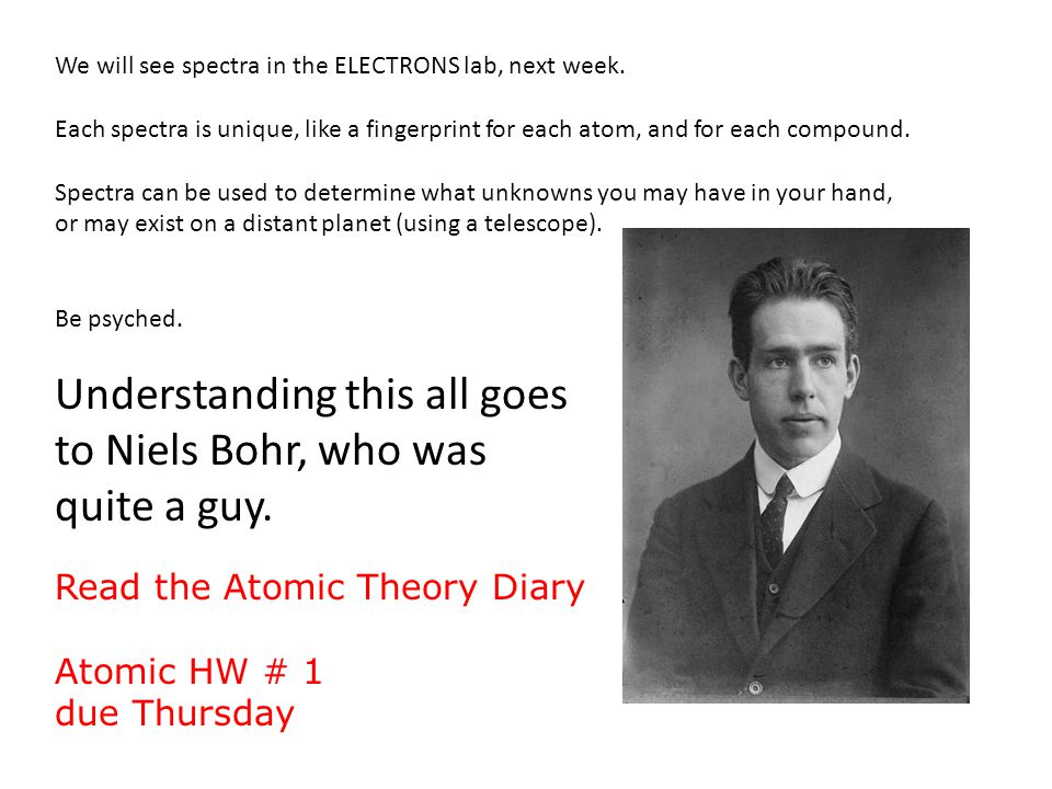 We will see spectra in the ELECTRONS lab, next week.