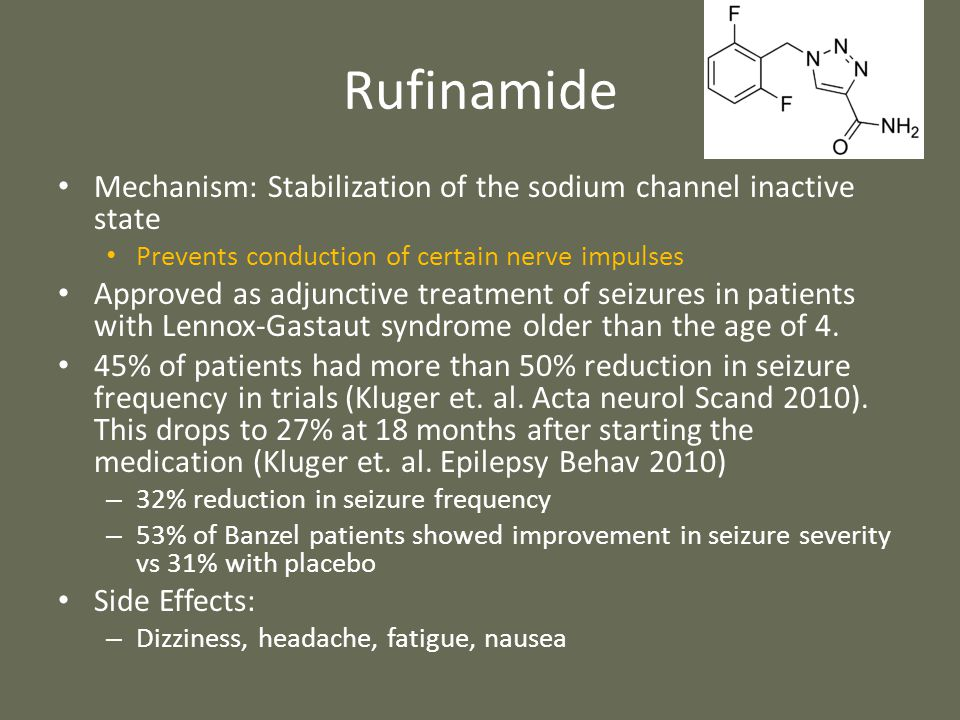 Rufinamide Mechanism: Stabilization of the sodium channel inactive state Prevents conduction of certain nerve impulses Approved as adjunctive treatmen