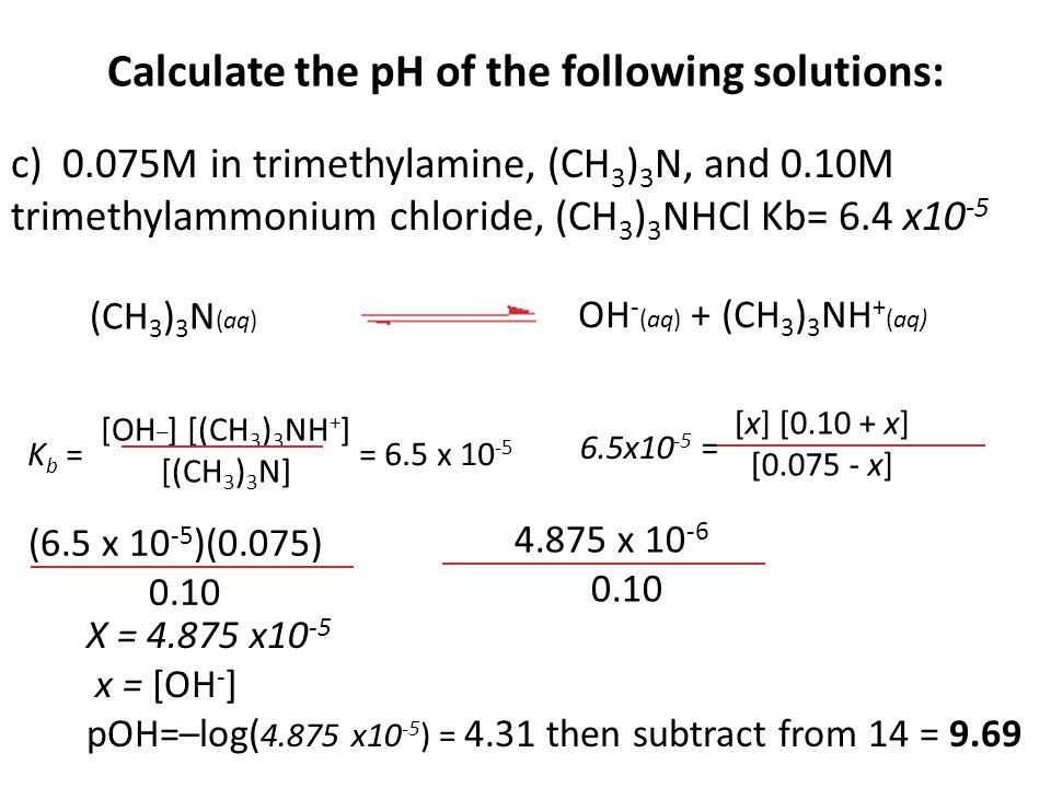 Calculate the pH of the following solutions: c) 0.075M in trimethylamine, (CH 3 ) 3 N, and 0.10M trimethylammonium chloride, (CH 3 ) 3 NHCl Kb= 6.4 x10 -5 [x] [0.10 + x] [0.075 - x] 6.5x10 -5 = (CH 3 ) 3 N (aq) OH - (aq) + (CH 3 ) 3 NH + (aq) [OH _ ] [(CH 3 ) 3 NH + ] [(CH 3 ) 3 N] K b = = 6.5 x 10 -5 (6.5 x 10 -5 )(0.075) 0.10 4.875 x 10 -6 0.10 X = 4.875 x10 -5 x = [OH - ] pOH=–log( 4.875 x10 -5 ) = 4.31 then subtract from 14 = 9.69