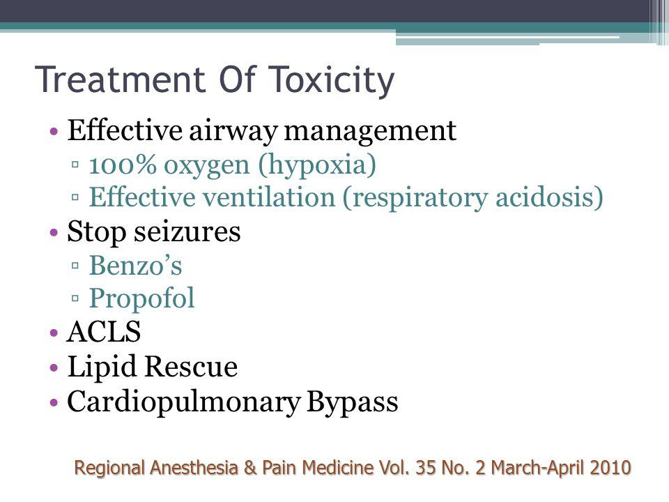 Treatment Of Toxicity Effective airway management ▫100% oxygen (hypoxia) ▫Effective ventilation (respiratory acidosis) Stop seizures ▫Benzo's ▫Propofo
