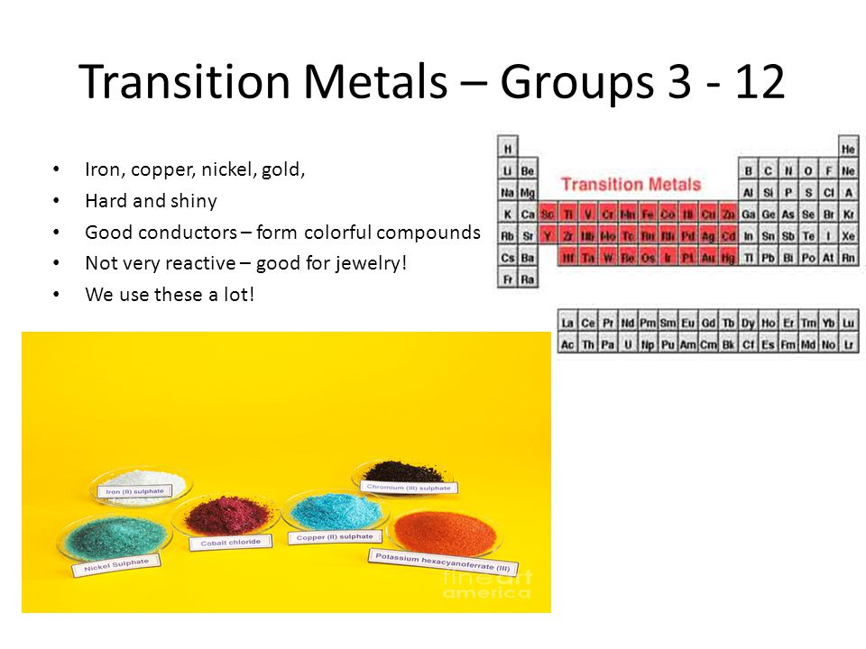Transition Metals – Groups 3 - 12 Iron, copper, nickel, gold, Hard and shiny Good conductors – form colorful compounds Not very reactive – good for je