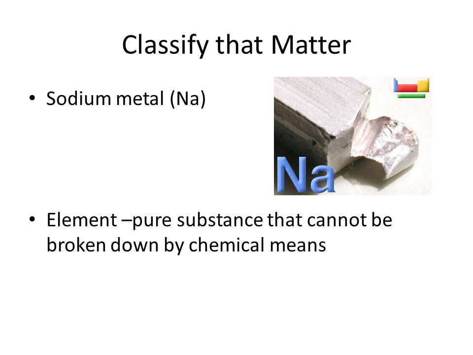 Classify that Matter Sodium metal (Na) Element –pure substance that cannot be broken down by chemical means