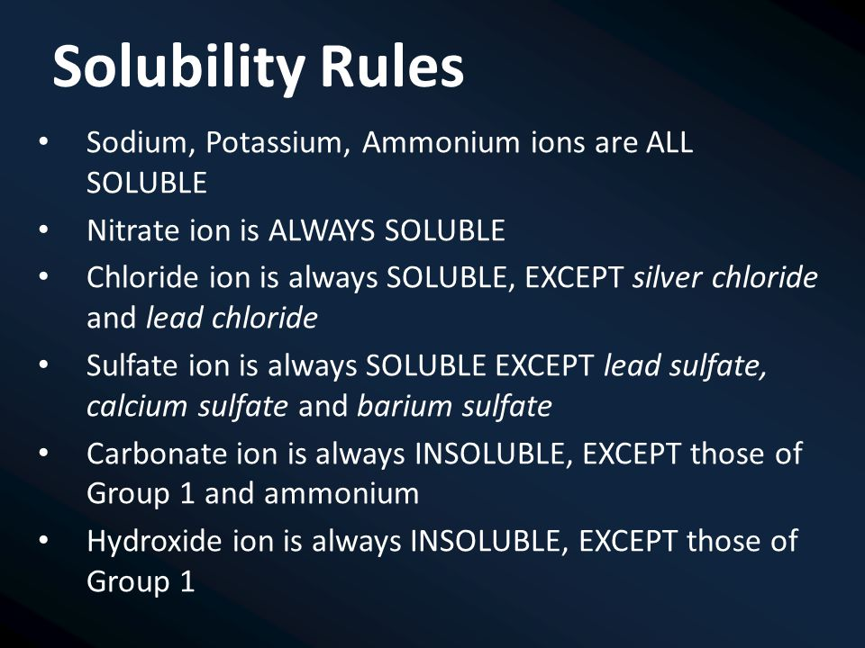 Solubility Rules Sodium, Potassium, Ammonium ions are ALL SOLUBLE Nitrate ion is ALWAYS SOLUBLE Chloride ion is always SOLUBLE, EXCEPT silver chloride and lead chloride Sulfate ion is always SOLUBLE EXCEPT lead sulfate, calcium sulfate and barium sulfate Carbonate ion is always INSOLUBLE, EXCEPT those of Group 1 and ammonium Hydroxide ion is always INSOLUBLE, EXCEPT those of Group 1