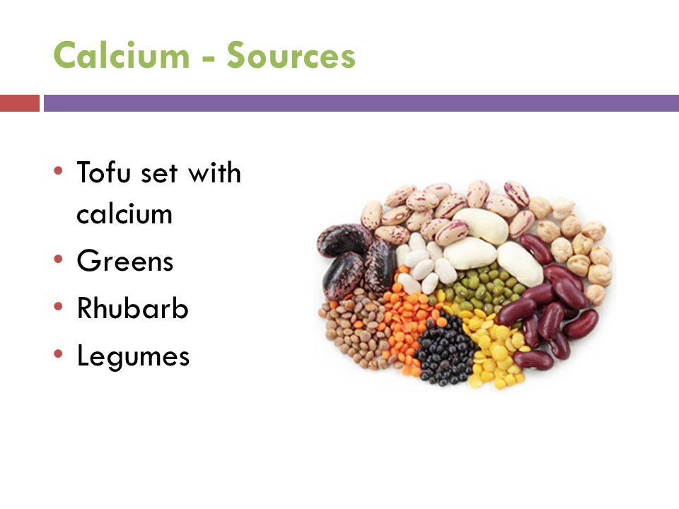 Calcium - Sources Tofu set with calcium Greens Rhubarb Legumes