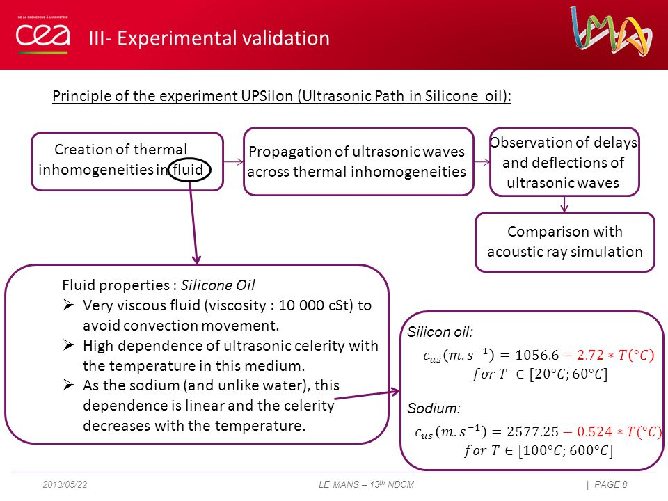 Principle of the experiment UPSilon (Ultrasonic Path in Silicone oil): Creation of thermal inhomogeneities in fluid Propagation of ultrasonic waves across thermal inhomogeneities Observation of delays and deflections of ultrasonic waves Comparison with acoustic ray simulation Fluid properties : Silicone Oil  Very viscous fluid (viscosity : 10 000 cSt) to avoid convection movement.