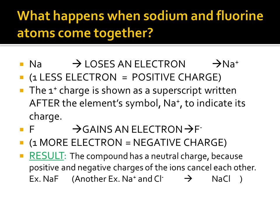  Na  LOSES AN ELECTRON  Na +  (1 LESS ELECTRON = POSITIVE CHARGE)  The 1 + charge is shown as a superscript written AFTER the element's symbol, N