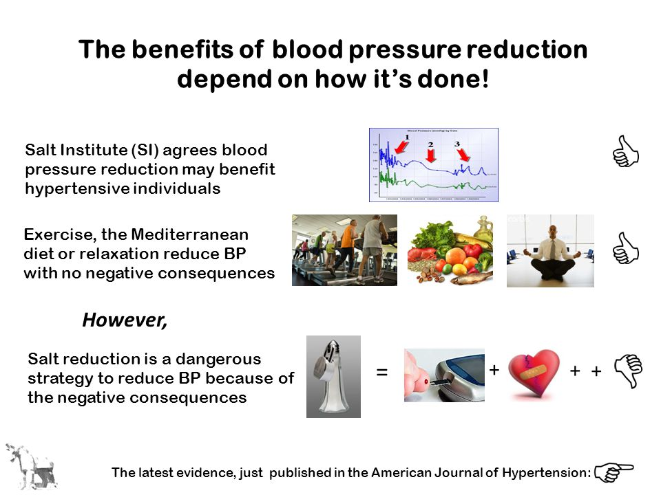 The benefits of blood pressure reduction depend on how it's done! Salt Institute (SI) agrees blood pressure reduction may benefit hypertensive individ