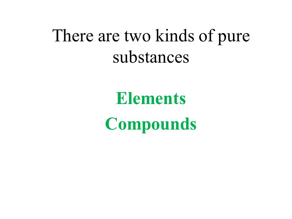 There are two kinds of pure substances Elements Compounds