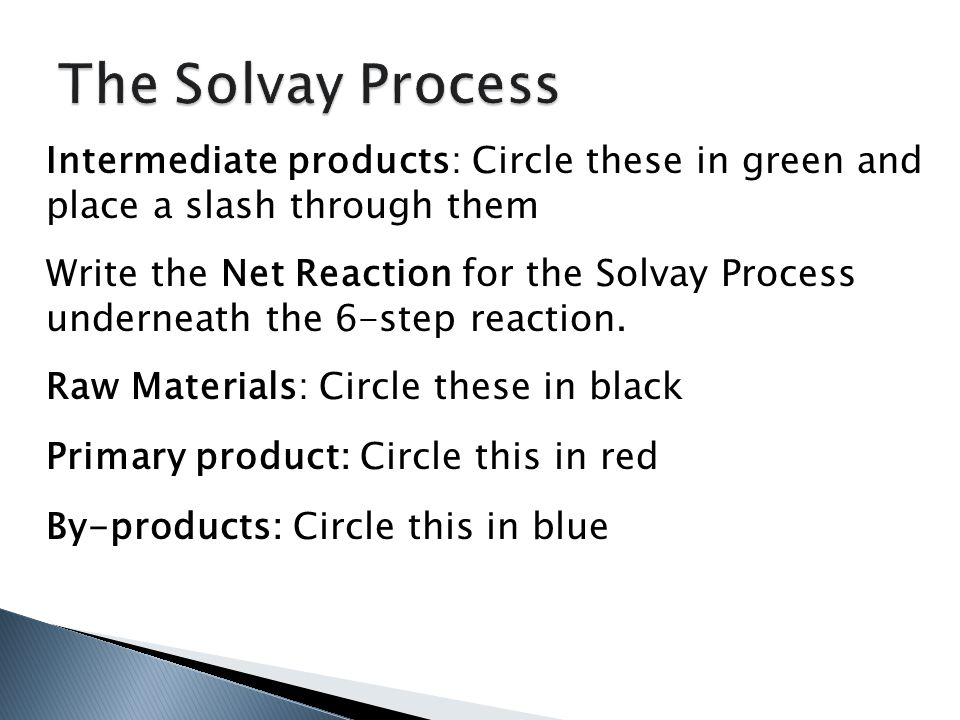 Intermediate products: Circle these in green and place a slash through them Write the Net Reaction for the Solvay Process underneath the 6-step reaction.