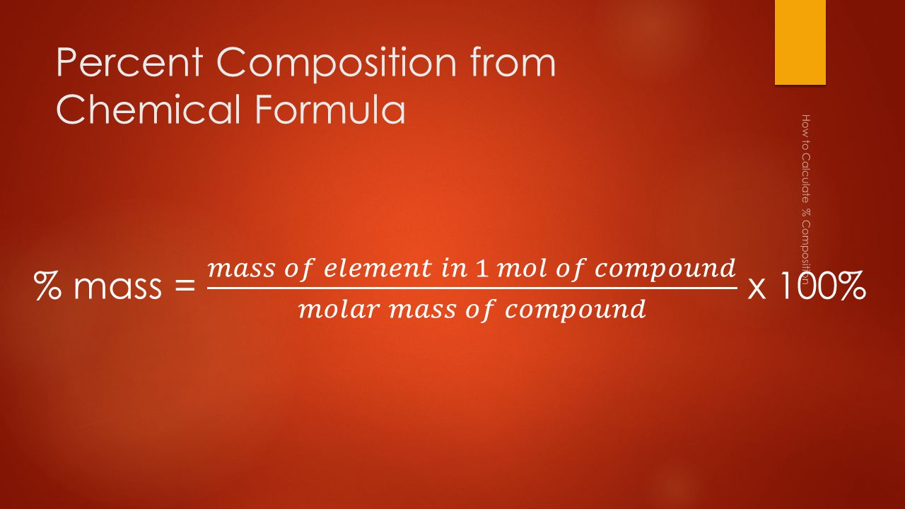 Percent Composition from Chemical Formula How to Calculate % Composition