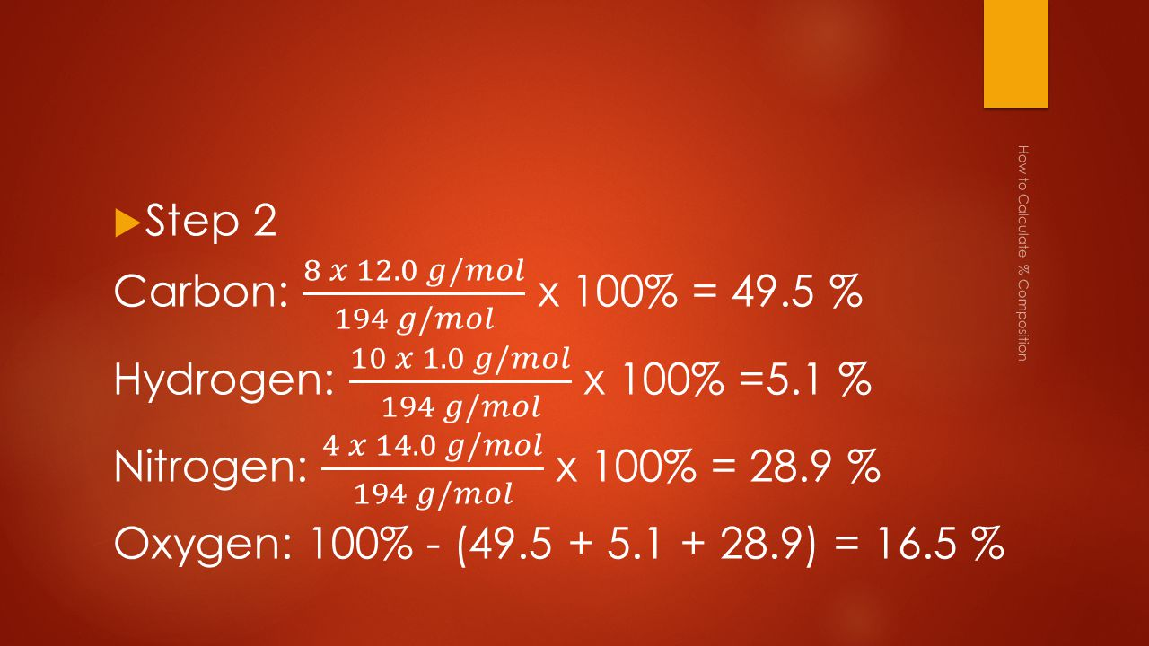 How to Calculate % Composition