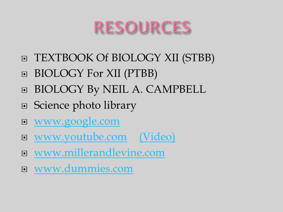  TEXTBOOK Of BIOLOGY XII (STBB)  BIOLOGY For XII (PTBB)  BIOLOGY By NEIL A. CAMPBELL  Science photo library  www.google.com www.google.com  www.