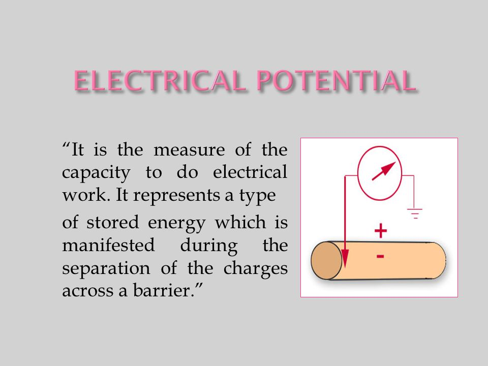"""It is the measure of the capacity to do electrical work. It represents a type of stored energy which is manifested during the separation of the charg"