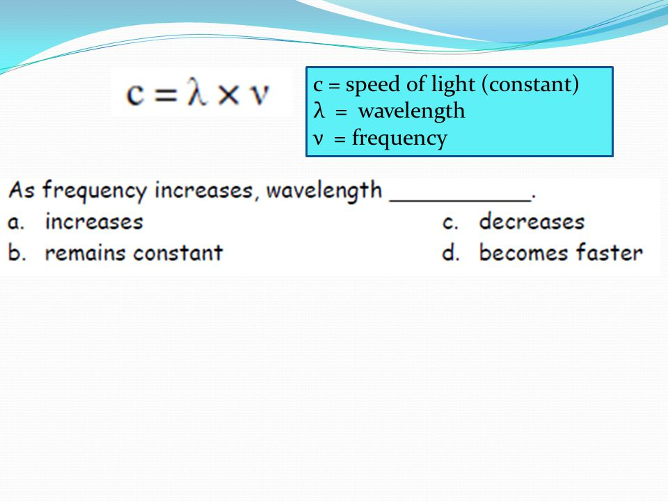 c = speed of light (constant) λ = wavelength ν = frequency