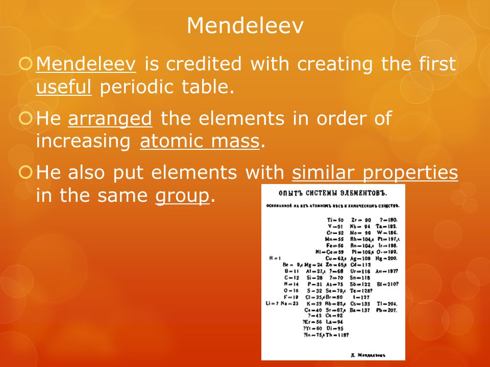 Mendeleev  When he finished, there were blanks in his periodic table.
