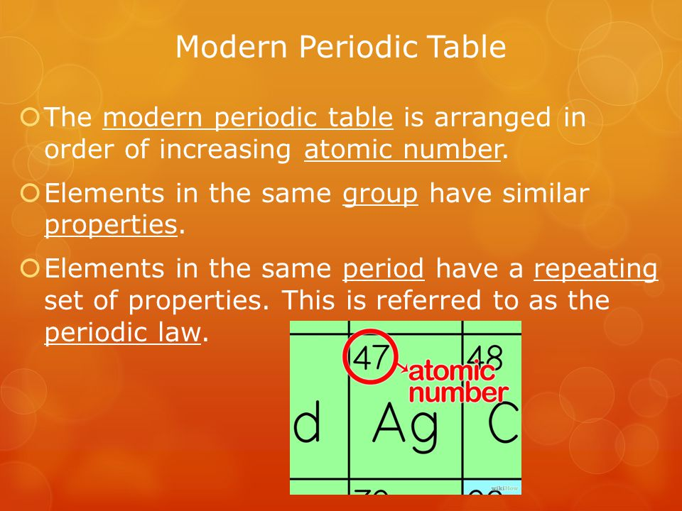 Metals, Nonmetals, and Metalloids  The periodic table can be broken up into metals, nonmetals, and metalloids.