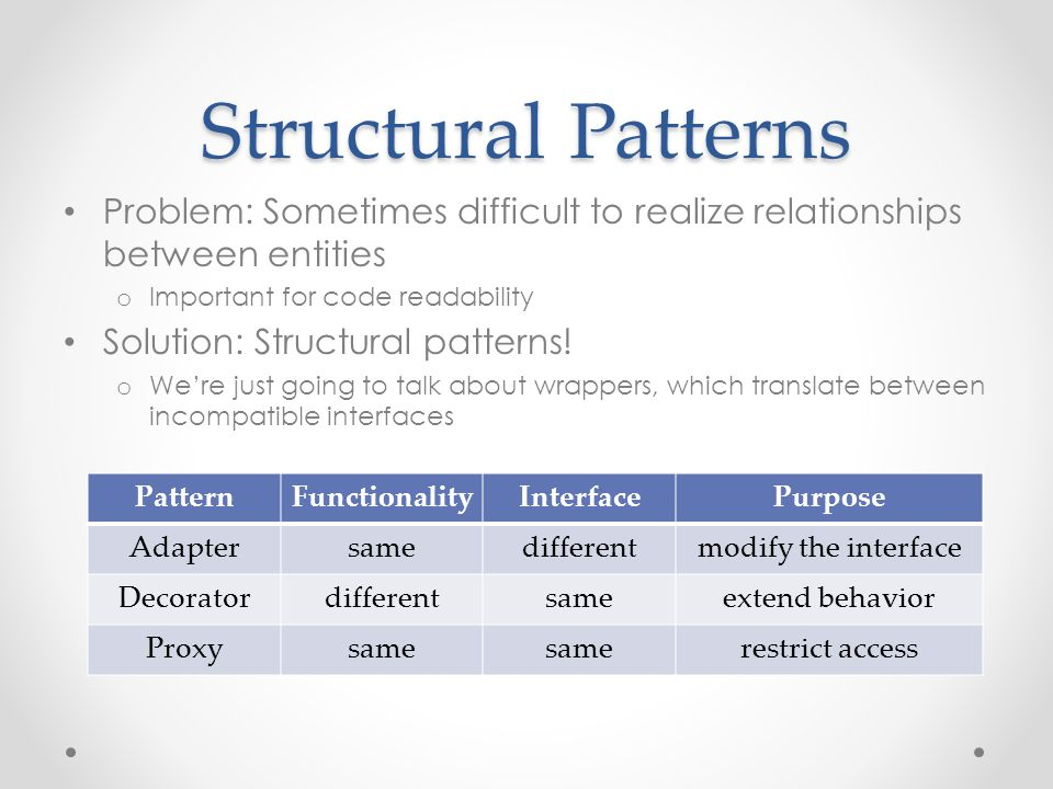 Structural Patterns Problem: Sometimes difficult to realize relationships between entities o Important for code readability Solution: Structural patterns.