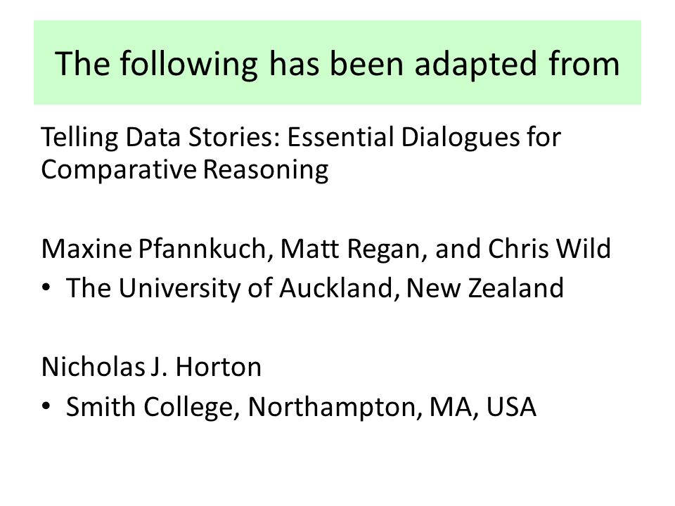 The following has been adapted from Telling Data Stories: Essential Dialogues for Comparative Reasoning Maxine Pfannkuch, Matt Regan, and Chris Wild The University of Auckland, New Zealand Nicholas J.
