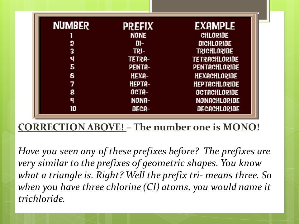 CORRECTION ABOVE. – The number one is MONO. Have you seen any of these prefixes before.