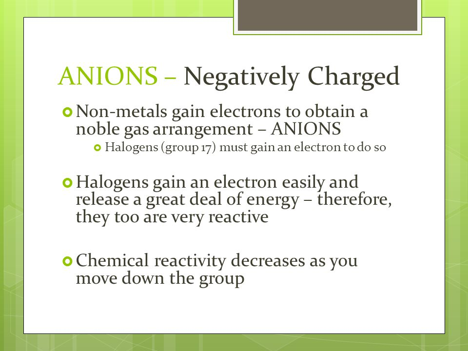  Substances that are composed of anions and cations are called IONIC COMPOUNDS  Ionic Bond – the attraction between oppositely charged ions Ionic Bond  Bond between a metal and a non-metal  Covalent Bond – atoms that share a pair of electrons Covalent Bond  Bond between 2 or more non-metals