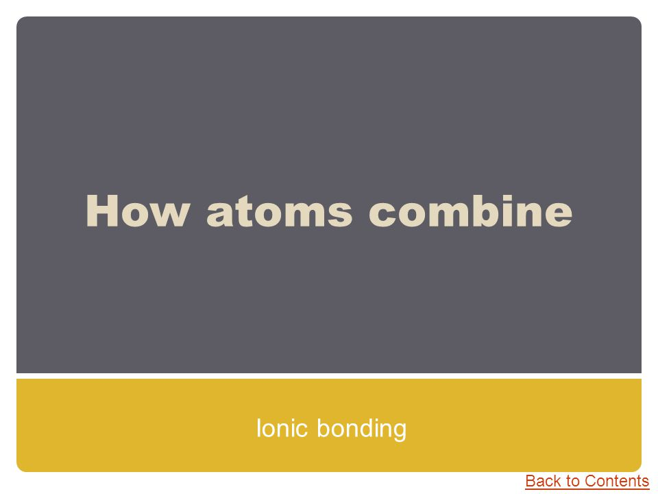How atoms combine Ionic bonding Back to Contents