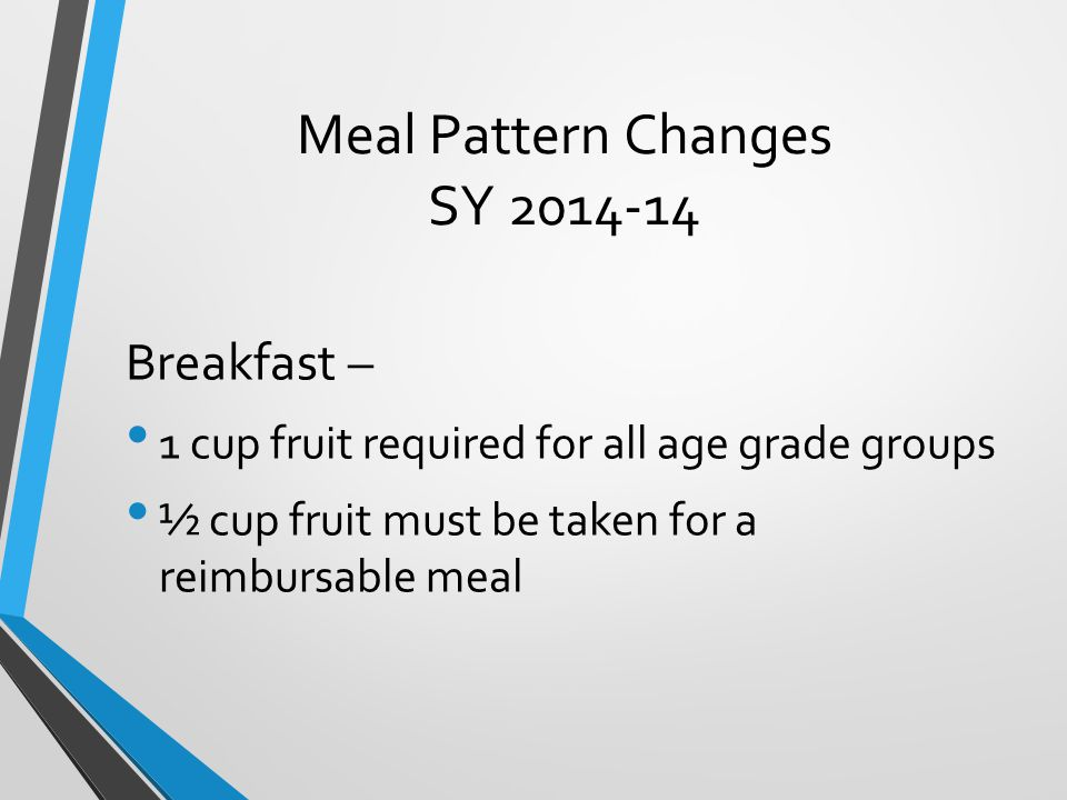 Meal Pattern Changes SY 2014-14 Breakfast – 1 cup fruit required for all age grade groups ½ cup fruit must be taken for a reimbursable meal