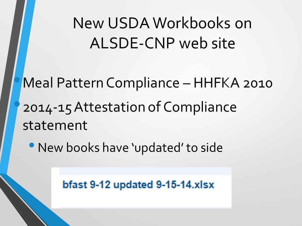 New USDA Workbooks on ALSDE-CNP web site Meal Pattern Compliance – HHFKA 2010 2014-15 Attestation of Compliance statement New books have 'updated' to side