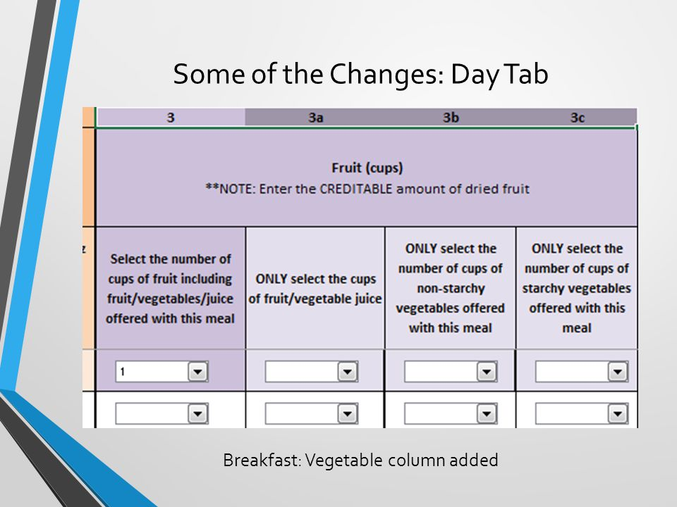 Some of the Changes: Day Tab Breakfast: Vegetable column added