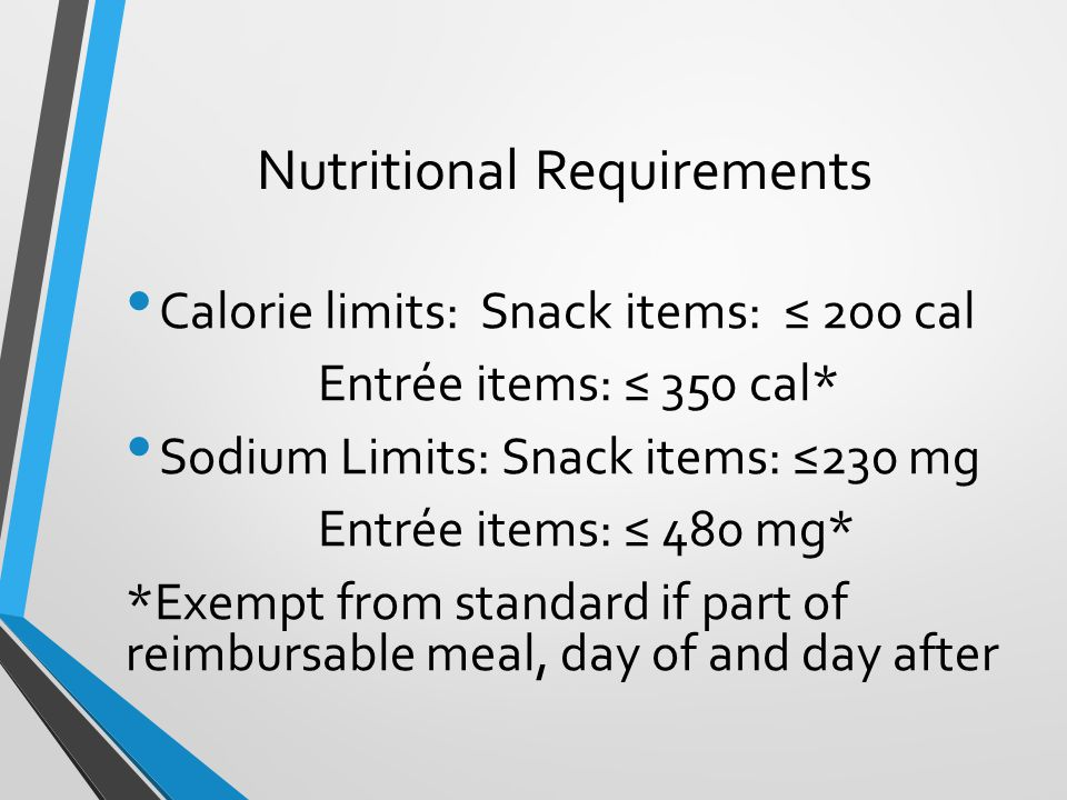 Nutritional Requirements Calorie limits: Snack items: ≤ 200 cal Entrée items: ≤ 350 cal* Sodium Limits: Snack items: ≤230 mg Entrée items: ≤ 480 mg* *Exempt from standard if part of reimbursable meal, day of and day after