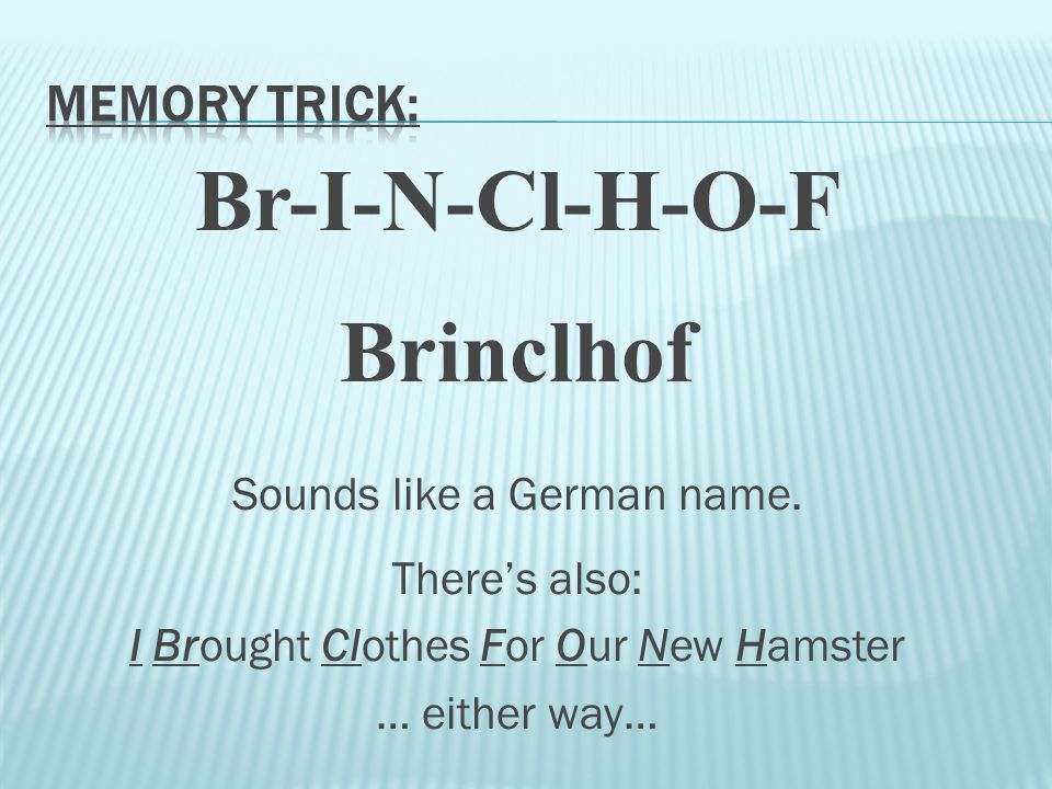 Br-I-N-Cl-H-O-F Brinclhof Sounds like a German name. There's also: I Brought Clothes For Our New Hamster … either way…