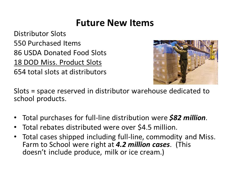 Future New Items Distributor Slots 550 Purchased Items 86 USDA Donated Food Slots 18 DOD Miss.