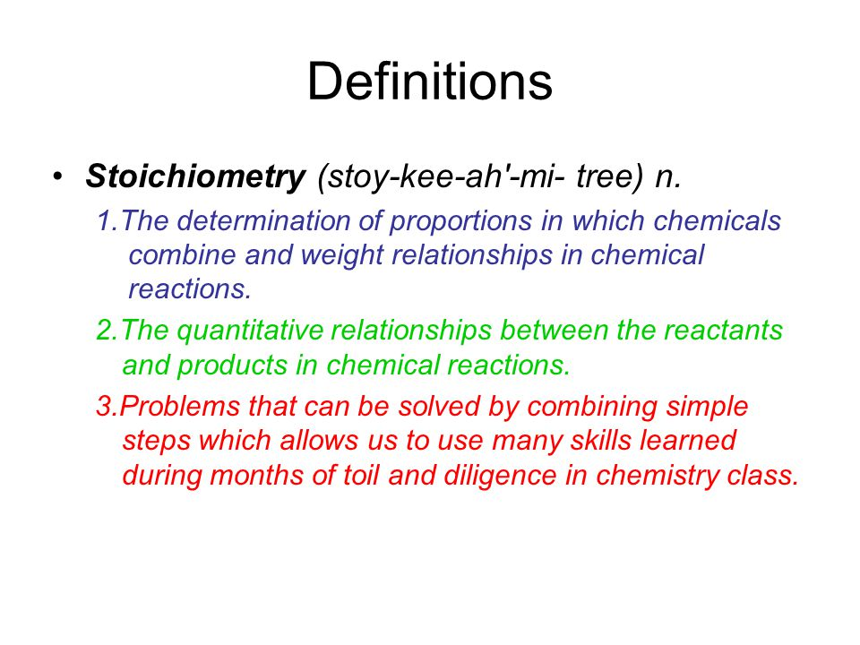 6-1 Notes: Stoichiometry Quantitative Chemistry