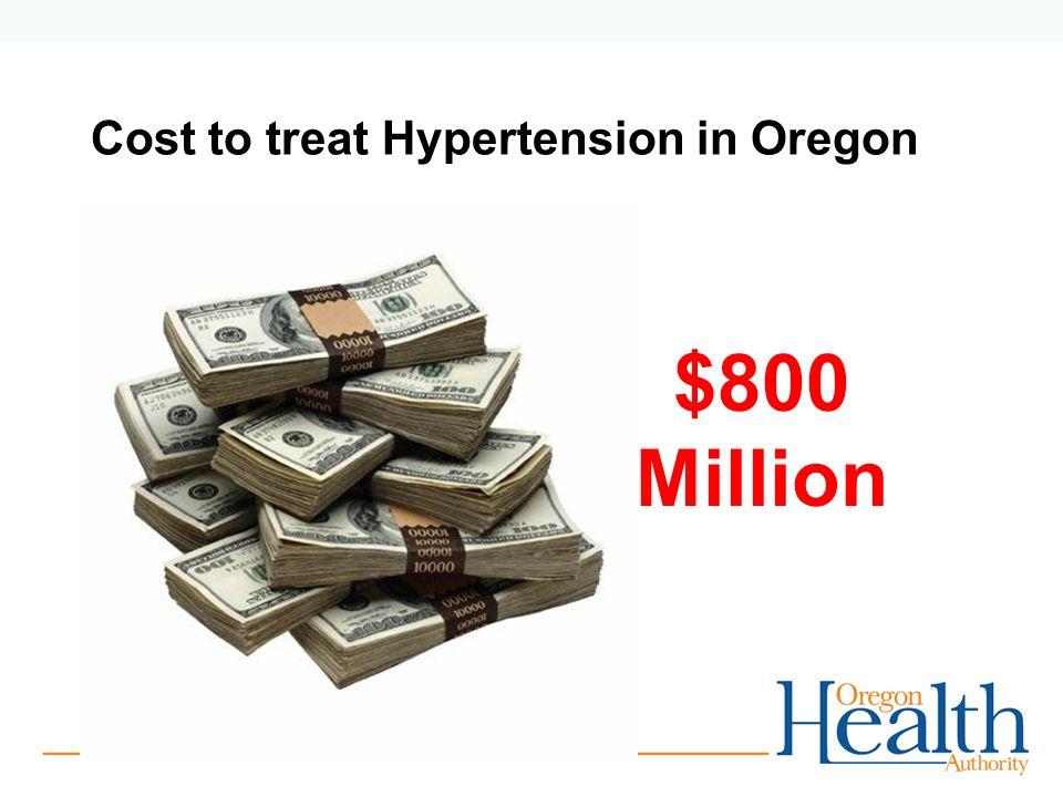 Cost to treat Hypertension in Oregon $800 Million