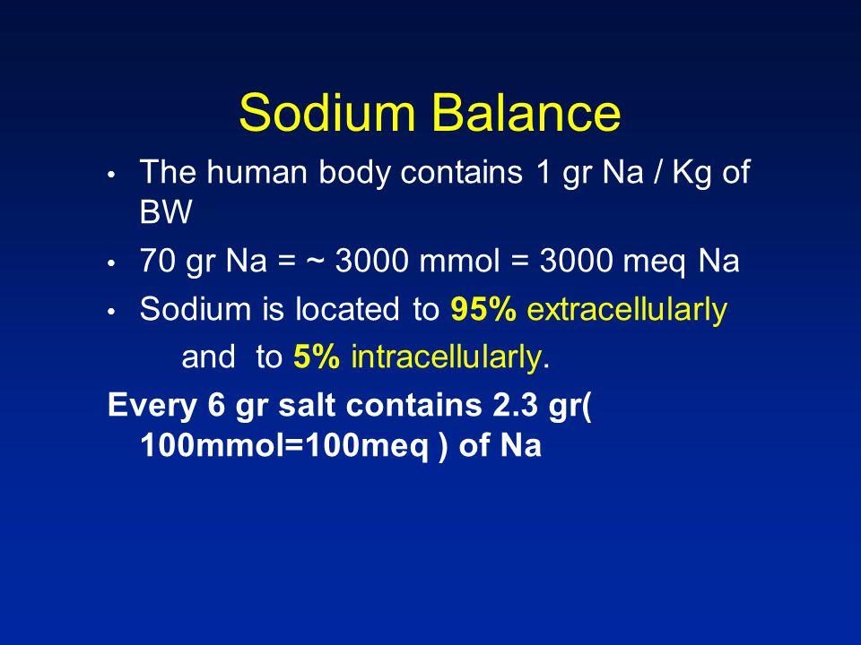 Sodium Balance The human body contains 1 gr Na / Kg of BW 70 gr Νa = ~ 3000 mmol = 3000 meq Na Sodium is located to 95% extracellularly and to 5% intracellularly.