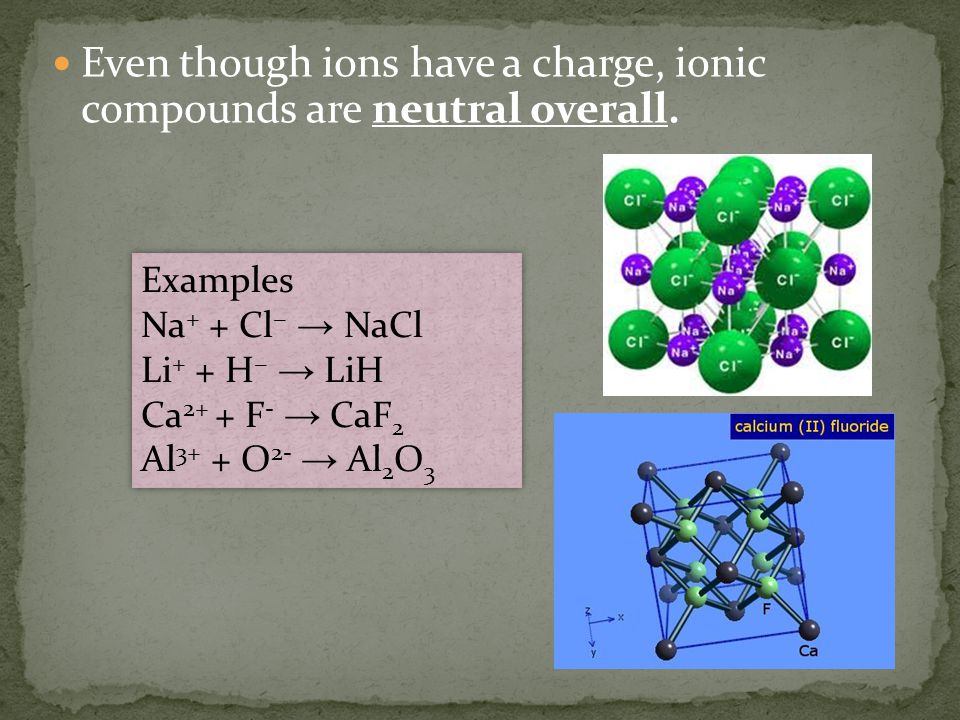 Ionic compounds form a crystal lattice structure.