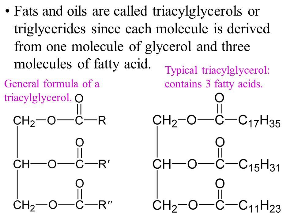 General formula of a triacylglycerol.