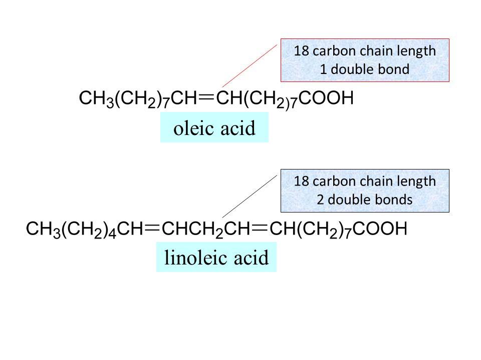 oleic acid 18 carbon chain length 1 double bond linoleic acid 18 carbon chain length 2 double bonds