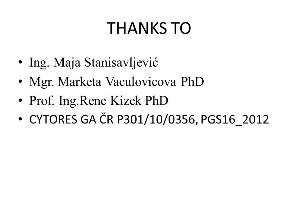 THANKS TO Ing. Maja Stanisavljević Mgr. Marketa Vaculovicova PhD Prof.