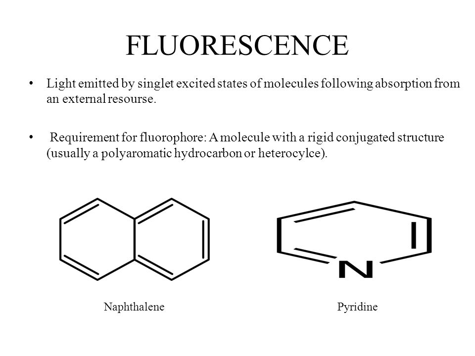 FLUORESCENCE Light emitted by singlet excited states of molecules following absorption from an external resourse.