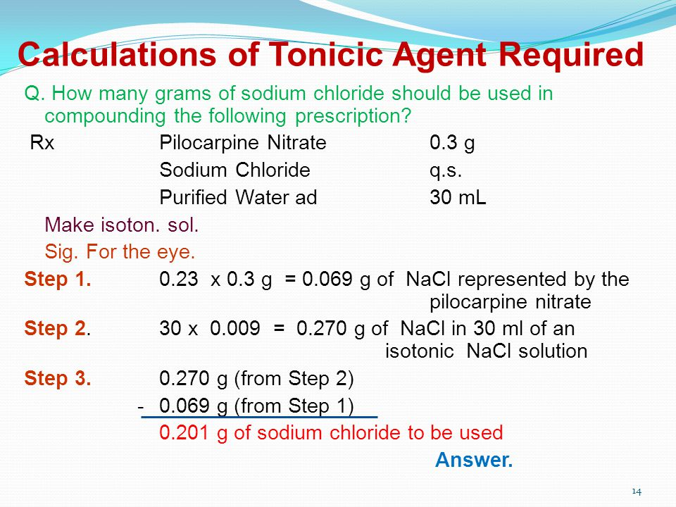 Calculations of Tonicic Agent Required Q.