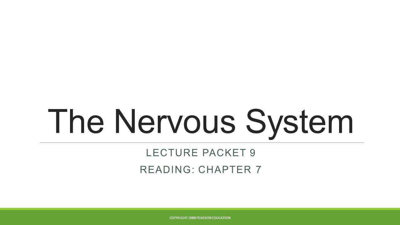 The Nervous System LECTURE PACKET 9 READING: CHAPTER 7 COPYRIGHT 2008 PEARSON EDUCATION
