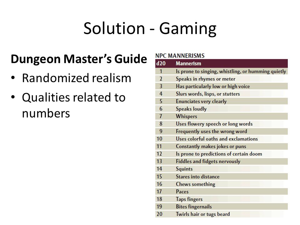 Solution - Gaming Dungeon Master's Guide Randomized realism Qualities related to numbers Virtual Patients Assign text strings to numbers Treat numeric data as numbers that fall within a pre-specified range.