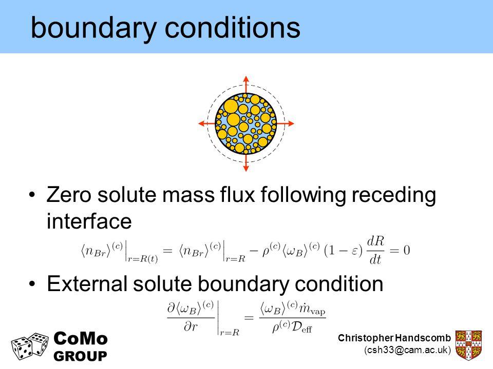 Christopher Handscomb (csh33@cam.ac.uk) boundary conditions Zero solute mass flux following receding interface External solute boundary condition