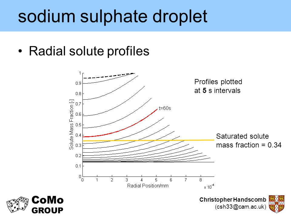Christopher Handscomb (csh33@cam.ac.uk) sodium sulphate droplet Radial solute profiles Saturated solute mass fraction = 0.34 Profiles plotted at 5 s i