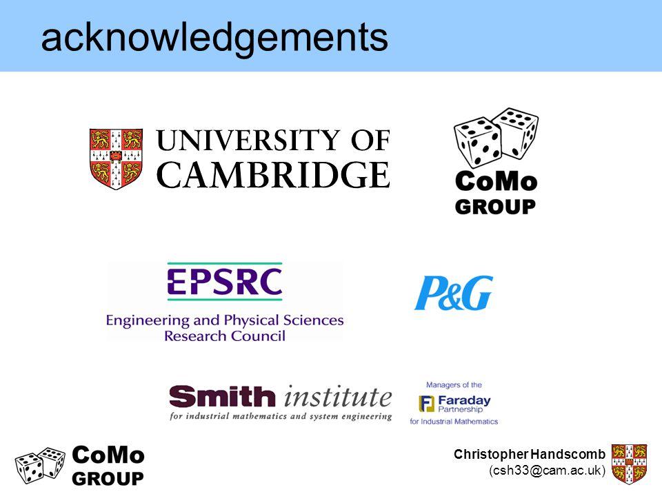Christopher Handscomb (csh33@cam.ac.uk) acknowledgements