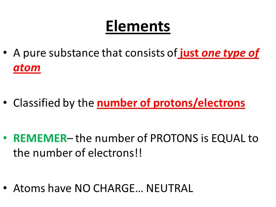 Elements A pure substance that consists of just one type of atom Classified by the number of protons/electrons REMEMER– the number of PROTONS is EQUAL to the number of electrons!.