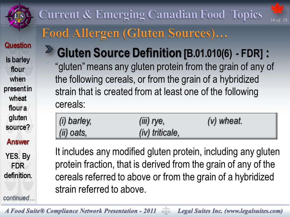 Gluten Source Definition [ : Gluten Source Definition [B.01.010(6) - FDR] : gluten means any gluten protein from the grain of any of the following cereals, or from the grain of a hybridized strain that is created from at least one of the following cereals: It includes any modified gluten protein, including any gluten protein fraction, that is derived from the grain of any of the cereals referred to above or from the grain of a hybridized strain referred to above.