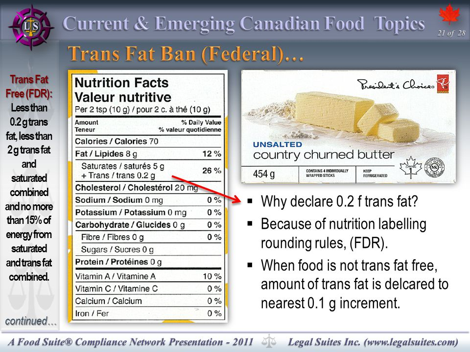 continued…  Why declare 0.2 f trans fat.  Because of nutrition labelling rounding rules, (FDR).