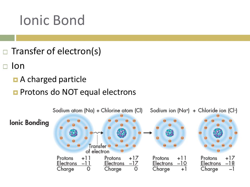 Ionic Bond  Transfer of electron(s)  Ion  A charged particle  Protons do NOT equal electrons