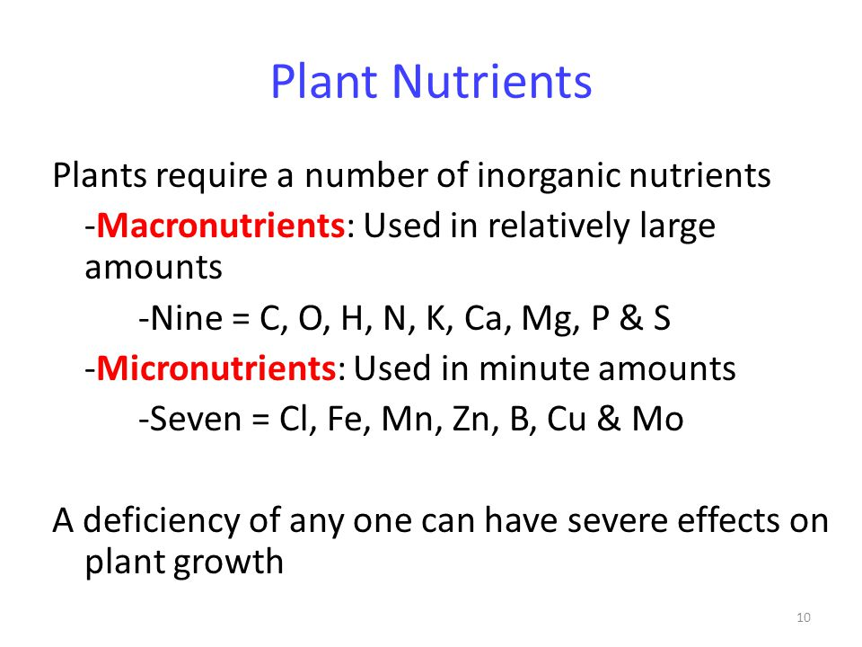 10 Plant Nutrients Plants require a number of inorganic nutrients -Macronutrients: Used in relatively large amounts -Nine = C, O, H, N, K, Ca, Mg, P &